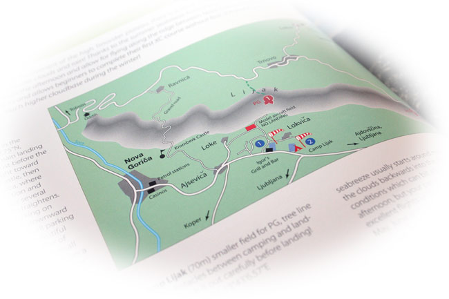 Best flying sites of the Alps book: Map detail page